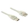 DELOCK Extension cable USB 2.0 Type-A male > USB 2.0 Type-A female 2m transpar
