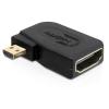 DELOCK HDMI micro D Ethernet -> HDMI M/F adapter 90° bal fekete