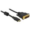 DELOCK HDMI mini C DVI-D M/M video jelkábel 1m fekete