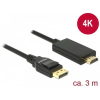 DELOCK kábel Displayport 1.2 male to HDMI male 4K passzív, 3m, fekete