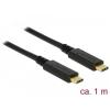 DELOCK kábel USB 3.1 Gen 2 Type-C male/male összekötő, 1m, 5A E-Marker (85531)