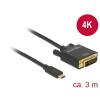DELOCK Kábel USB Type-C csatlakozó > DVI 24+1 csatlakozó (DP váltakozó mód) 4K 30 Hz, 3m, fekete