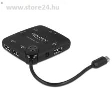 DELOCK USB OTG SD/Micro SD kártyaolvasó fekete + USB hub kártyaolvasó