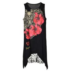 Desigual csipkés női Tunikaruha – Virág #fekete-pink