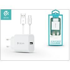 Devia Devia Smart USB hálózati töltő adapter + USB Type-C kábel 1 m-es vezetékkel - Devia Smart USB Fast Charge for Type-C 2.0 - 5V/2,1A - white audió/videó kellék, kábel és adapter