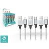 Devia Devia Tube 3 USB adat- és töltőkábel szett 1 m-es vezetékkel - Devia Tube for Android/Lightning/Type-C USB 2.4A- 30 db/csomag - silver/black