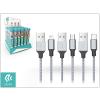 Devia Tube 3 USB adat- és töltőkábel szett 1 m-es vezetékkel - Devia Tube for Android/Lightning/Type-C USB 2.4A - 30 db/csomag - silver/blue