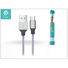 Devia USB - micro USB adat- és töltőkábel 1 m-es vezetékkel - Devia Tube for Android USB 2.4A - silver/blue tablet kellék