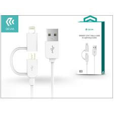 Devia USB - micro USB + Lightning adat- és töltőkábel 1 m-es vezetékkel - Devia Smart 2in1 Charging Cable USB 1.0 - white tok és táska