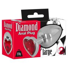 Diamond - 159g-os alumínium anál dildó (ezüst-piros) műpénisz, dildó