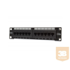 """Digitus 12 portos Cat5e UTP patch panel 10""""-os fali rack szekrénybe"""