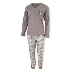 Dressa Eye mintás női hosszú ujjú pizsama szett - szürke