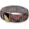 DSE HIP-HOP Jewels - Kint - szilikon-nemesacél-szövet karkötő - lila kockás