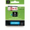 Dymo D1 40915, S0720700, 9mm x 7m, piros nyomtatás / fehér alapon, eredeti szalag