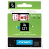 Dymo D1 45015, S0720550, 12mm x 7m piros nyomtatás / fehér alapon, eredeti szalag