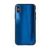 egyéb Rainbow szilikon tok üveg hátlappal - Huawei P40 Lite kék