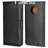 egyéb WALLET notesz tok / flip tok - FEKETE - valódi bőr, asztali tartó funkciós, oldalra nyíló, rejtett mágneses záródás, bankkártya tartó zsebekkel - Motorola Moto G6 Plus (2018)