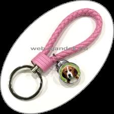 Egyedi, fényképes kulcstartó (fonott bőr) rózsaszín kulcstartó