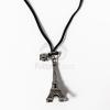 Eiffel torony medál fekete bőr szíjjal - ezüst bevonatos jwr-1104