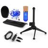 Electronic-Star auna CM001BG mikrofon készlet V1, kondenzátoros mikrofon, USB-adapter, mikrofon állvány, kék