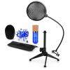 Electronic-Star auna CM001BG mikrofon készlet V2 - kondenzátoros mikrofon, mikrofon állvány, pop szűrő, kék