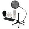 Electronic-Star auna CM001S mikrofon készlet V2 - kondenzátoros mikrofon, mikrofon állvány, pop szűrő, ezüstszínben