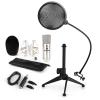 Electronic-Star auna CM001S mikrofon készlet V2, kondenzátoros mikrofon, USB-adapter, mikrofon állvány, ezüstszínben