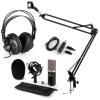 Electronic-Star auna CM003 mikrofon szett V3 kondenzátoros mikrofon, USB-konverter, fejhallgató, fekete