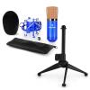 Electronic-Star auna CM00BG mikrofon készlet V1 - fekete-arany stúdió mikrofon pókkal és asztali állvánnyal
