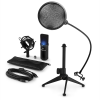 Electronic-Star auna MIC-900B-LED V2, háromrészes USB mikrofon készlet, kondenzátoros mikrofon + pop szűrő + asztali állvány
