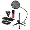 Electronic-Star auna MIC-900RD-LED V2, háromrészes USB mikrofon készlet, kondenzátoros mikrofon + pop szűrő + asztali állvány