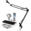Electronic-Star auna MIC-900S-LED USB mikrofon szett V3 kondenzátoros mikrofon + mikrofontartó kar, LED, ezüst
