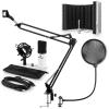 Electronic-Star auna MIC-900WH USB mikrofon szett V5 kondenzátoros mikrofon, pop filter, mikrofonernyő, mikrofon kar, fehér