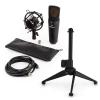 Electronic-Star auna MIC-920B USB mikrofon készlet V1 - fekete nagy membrános mikrofon és asztali állvány