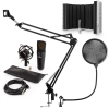 Electronic-Star auna MIC-920B USB mikrofon szett V5 kondenzátoros mikrofon, pop filter, mikrofonernyő, mikrofon kar