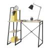 [en.casa]® [en.acsa]® Íróasztal polcokkal  Aalborg,117 x 102 x 50 cm, Fekete/Tölgyfa-hatás