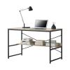[en.casa]® Íróasztal plusz polccal irodai asztal fémvázzal irodaasztal 75 x 120 x 60 cm