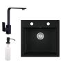 Eos Gránit mosogató EOS Como + Design csaptelep + adagoló + szifon (fekete)
