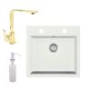 Eos Gránit mosogató EOS Como + Design Gold csaptelep + adagoló + szifon (fehér)