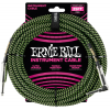 Ernie Ball 25' Braided Straight / Angle Instrument Cable Neon Green/Black