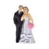 Esküvői figura - ezüstlakodalom poly 5x3x9cm fekete, ezüst