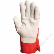 Euro Protection Bőrkesztyű, szürke marhahasíték, erős, piros vászon kézhát -8