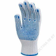 Euro Protection Kötött pes/pamut fehér kesztyű, két oldalon kék pettyek -9