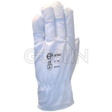 Euro Protection Sofõrkesztyû, puha színsertés, fehér vászon kézhát csuklógumival, 12 pár