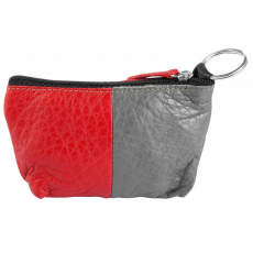 Excellanc Excellanc valódi bőr érmetartó tárca, 12x8 cm - szürke-piros