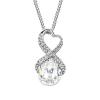 Exkluzív nyaklánc fehérarany bevonattal, áttetsző Swarovski kristályokkal + AJÁNDÉK DÍSZDOBOZ (0216.)