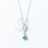 Ezüst bevonatos levél medálos nyaklánc kék kővel jwr-1353