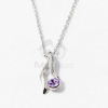 Ezüst bevonatos nyaklánc köves medállal lila jwr-1309