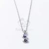Ezüst bevonatos nyaklánc lila köves medállal jwr-1337