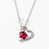 Ezüst bevonatos szív medálos nyaklánc piros köves jwr-1301